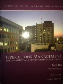 Operations Management: Sustainability And Supply Chain Management Custom Edition For Temple University, Version 3 - 11th Edition - by HEIZER - ISBN 9781269383578